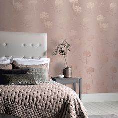 An all over vinyl wallpaper design, featuring a distress stylised tree motif. Rose Gold Bedroom Wallpaper, Metallic Wallpaper, Purple Wallpaper, Trendy Wallpaper, Vinyl Wallpaper, Home Wallpaper, Wallpaper Roll, Embossed Wallpaper, Glitter Bedroom