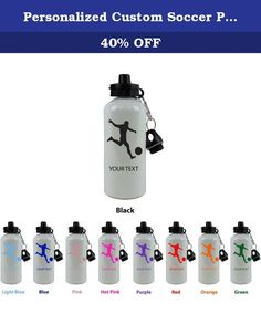 """Personalized Custom Soccer Player Aluminum White Finish 20 Ounce 600ML Sport Water Bottle Customizable Holiday Gift or Birthday Present! Contact Seller for Custom Text and Color Request or Leave a Gift Message at Checkout!. This white finish aluminum 20 oz 600ML sublimation sport water bottle comes with FREE personalization. Add your name, a date, your initials, your pets name, your kids name or anything else you can think of! Please leave a message in the """"ADD GIFT OPTIONS"""" section at..."""