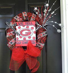 Georgia Bulldogs Wreath Sports Wreath Football Wreath by Abril5003, $65.00