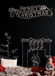 Chalkboard art quote DIY #crafts ToniK ⊱CհαƖҜ ℒЇℕ℮⊰ Merry #Christmas photography child