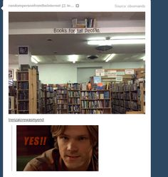 Books for Tall People ||| Supernatural Has a GIF for Everything