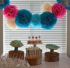 Ideas Baby Shower Ideas For Girls Themes Teal Pom Poms Baby Shower Desserts, Baby Shower Table, Baby Shower Favors, Baby Shower Cakes, Baby Shower Themes, Baby Boy Shower, Baby Shower Invitations, Shower Ideas, Baby Shower Centerpieces