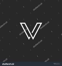 V letter logo, minimalistic thin line mockup monogram, business card elegant black and white VV emblem template
