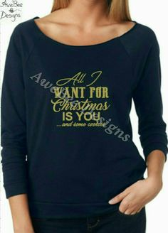 All I Want For Christmas Is You and Some Cookies Terry Raw‑Edge 3/4‑Sleeve Raglan Tee by AweBeeDesigns on Etsy
