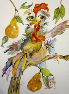 A Rooster in a Pear Tree original watercolor painting Art by Delilah