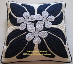 Hawaiian 2 Pillow Covers 18x18 Quilt Cushions Handmade Hand Quilted Appliqued   eBay