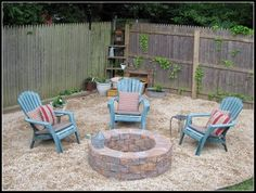 The making of a relaxing firepit area. Materials: 3 yards of pea gravel 60 Paving stones 4 rolls of weed block plastic edging stakes contractor adhesive