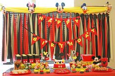 Mickey Mouse Birthday Party Dessert Table