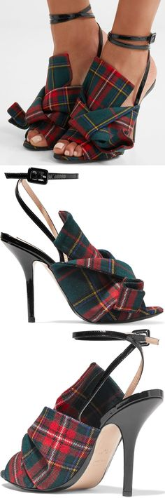 Fashion's early adopters – think Leandra Medine and Lisa Aiken – were quick to spot that N°21's knotted shoes were destined for cult success. Part of Alessandro Dell'Acqua's Pre-Fall '17 collection, these open-toe sandals are made from plaid canvas and have black patent-leather trims. The slim straps wrap delicately around the ankle to balance the statement folds.