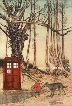 Doctor Who Bad Wolf Red Riding Hood Print TARDIS by ParodiesLost, $17.95