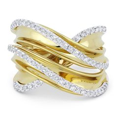 0.52ct Round Cut Diamond Right-Hand Overlap Wrap Fashion Ring in 14k Yellow & White Gold - AlfredAndVincent.com