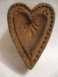 Antique Vtg Primitive Wooden Heart Shaped Mold Stamp Springerlie Cookie Butter       Sold  Ebay   235.00