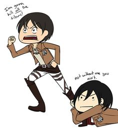 Attack on Titan - Eren and Mikasa.Mikasa is a bit too overprotective of Eren. Eren X Mikasa, Attack On Titan Funny, Levi X Eren, Attack On Titan Anime, Animes On, Eremika, Awesome Anime, Death Note, Sword Art Online