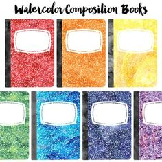 FREE Watercolor Composition Book Clip ArtClip art set of 7 rainbow composition books with a watercolor texture. Each book is saved as an individual image.PNG Images with transparent background.You Might Also Like: Doodle Border Big Bundle Terms of Use: If you are a teacher who is creating a product to sell here on TPT no extra license is required.