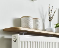 Oak radiator shelf floating/solid oak in 2019 Oak Floating Shelves, Oak Shelves, Glass Shelves, Shelving, Diy Radiator Cover, Radiator Shelf, Radiator Ideas, Hallway Shelf, Hallway Storage