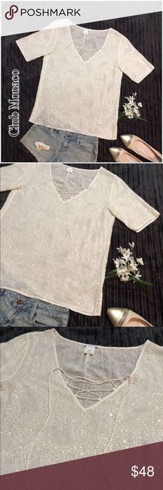 Club Monaco Sheer Cream Sequined Top w/ lace neck Gorgeous top, fantastic sequins to catch the light but subtle and in the same tone. Satin laces for the V-Neck line. No flaws Club Monaco Tops Blouses