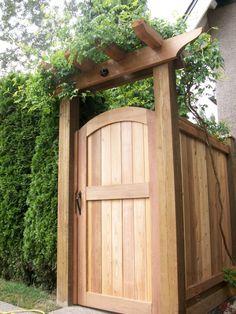 Cedar Wood Fence, Cedar Gate, Wooden Garden Gate, Wooden Gates, Brick Fence, Front Fence, Bamboo Fence, Fence Stain, Steel Fence