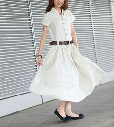 Long White Dress Linen White Sundress Custom by camelliatune. $71.00, via Etsy.