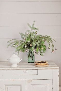 Vintage Blue Mason Jar Style for Christmas ~ Mary Wald's Place - Dreamy Whites: French Farmhouse Christmas Collection 2014 & Wintersteen Farms Wreath Giveaway Alternative Christmas Tree, Cool Christmas Trees, Noel Christmas, Simple Christmas, Winter Christmas, Vintage Christmas, Christmas Crafts, Christmas Ideas, Outdoor Christmas