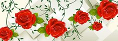flowers background with water droplets, Flowers, Red, Rose, Background image