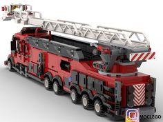 Fire engine for tall buildings Lego City Fire Truck, Fire Trucks, Lego Track, Jurassic Park Jeep, Lego Village, Lego Fire, Lego City Sets, Amazing Lego Creations, Lego Design