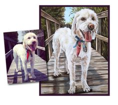 custom Pet Portrait dog painting original oil labradoodle dog puppy art great gift 14x18 made to order by Heather Hughes