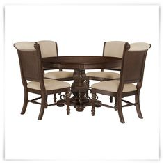 Tradewinds Dark Tone Round Table & 4 Upholstered Chairs