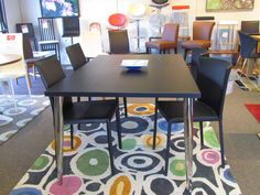 Mocca dining table in black woodgrain and chrome legs.  Was $379   Now $299