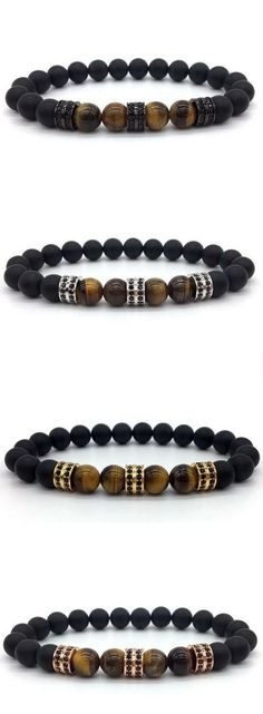 Mens bead bracelet. Free Shipping Worldwide. Tiger eye stone beads with matte black beads and cz charms. Choice of 4 colors. Also available in shiny black version.