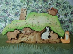 Waldorf wooden toys Large Forest Tree House