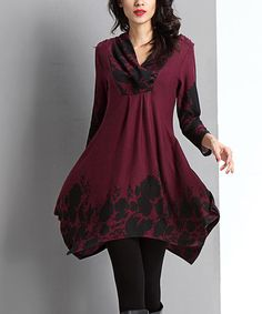 Look what I found on #zulily! Plum Floral Shawl Collar Handkerchief Tunic by Reborn Collection #zulilyfinds