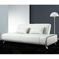 @Overstock.com - Lucas White Leather Sofa/ Sofabed - Stunning in any form, this Lucas White Bicast Leather Sofa looks great as a sofa and as a bed. This white leather sleeper is made from solid wood and can convert into a generous sized bed.  http://www.overstock.com/Home-Garden/Lucas-White-Leather-Sofa-Sofabed/5793906/product.html?CID=214117 $862.99