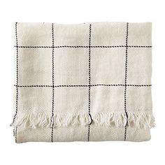 Linen Windowpane Throw – Ivory | Serena & Lily