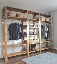 Ana White | Build a Industrial Style Wood Slat Closet System with Galvanized Pipes | Free and Easy DIY Project and Furniture Plans Wooden Closet, Wooden Wardrobe Closet, Pallet Wardrobe, Rustic Closet, Garage Closet, Basement Closet, How To Build Closet, Wooden Garage Shelves, Diy Wood Shelves, Hangers, Bedroom Cupboards, Simple Closet, Crates, Shops, Woodwind Instrument, Mudroom Cubbies, Mattresses, Coat Hooks, Salvaged Furniture, Room