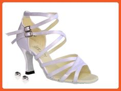 Very Fine Womens Salsa Ballroom Tango Latin Dance Shoes Style 1658 Bundle with Plastic Dance Shoe Heel Protectors Black Leather 6 M US Heel 2.5 Inch