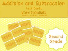Grade 2 - Addition and Subtraction Word Problems - Task Cards Science Resources, Classroom Resources, Math Activities, Teacher Resources, Second Grade Math, Grade 2, Math Task Cards, 3rd Grade Classroom, Center Ideas