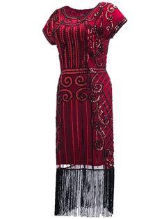 991b56b04b6797 Clothin Women's 1920s Style Beaded Deco Flapper Dress Vintage Inspired  Sequin Embellished Fringe Gatsby Dress: