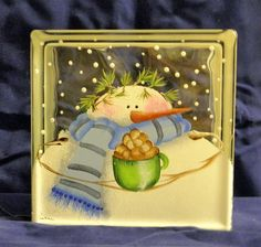 GLASS BLOCK LIGHT Snowman with Coco I will be painting this one