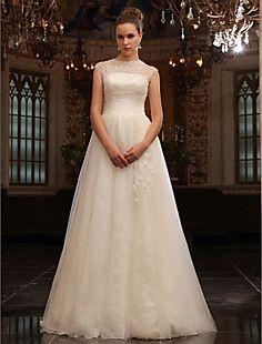 A-Line Jewel sweep / spazzola treno tulle abito da sposa – EUR € 653.39