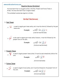 Negation in Arabic Arabic Verbs, Arabic Phrases, Arabic Quotes, Number Worksheets, Writing Worksheets, Learn Arabic Online, Learn Arabic Alphabet, Writing Curriculum, Arabic Lessons