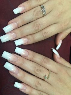 Pin by kristina dibennardo on nails! Acrylic French Manicure, French Tip Nails, Polygel Nails, Diva Nails, Manicures, Long Square Acrylic Nails, Square Nails, Gorgeous Nails, Pretty Nails
