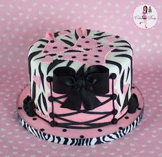 Lingerie Bridal Shower Cake with Zebra Print & Pink Corset and Lingerie