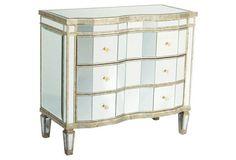 Kingston Mirrored Dresser, Silver/Gold