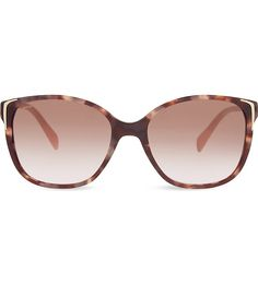 Prada's sunglasses offer a chic, timeless summer style with their square frames and tortoise shell design. Accented with brown gradient lenses and gold-toned hardware, this pair will add a luxurious Italian finish to your warm weather wardrobes. Sunglass Frames, Tortoise Shell, Warm Weather, Lenses, Croatia 2016, Chic, Luxury, Prada Sunglasses, Gold