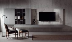 LANDSCAPE - Designer Wall storage systems from Acerbis ✓ all information ✓ high-resolution images ✓ CADs ✓ catalogues ✓ contact information. Living Room Tv, Living Room Modern, Apartment Living, Home And Living, Living Room Designs, Living Spaces, Tv Wanddekor, Tv Feature Wall, Modern Interior