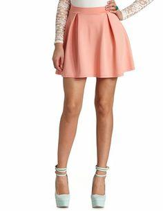 Box-Pleated High-Waisted Skater Skirt: Charlotte Russe