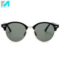 e85e6351b Das Mulheres da forma Do Vintage Rodada óculos de Sol de Design Da Marca  Homens Óculos Sem Aro Semi Retro Novos Óculos de Sol Oculos de sol UV400  MA010 em ...