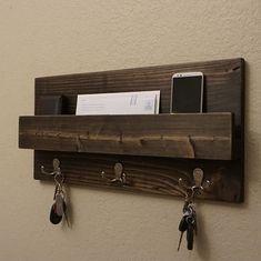 Modern Rustic Entryway Coat Rack Shelf and Mail Phone by KeoDecor Entryway Coat Rack, Entryway Shelf, Rustic Entryway, Modern Entryway, Entryway Organization, Key Organizer, Wooden Crafts, Wood Pallets, Modern Rustic