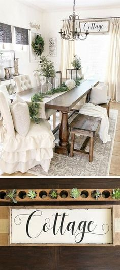 Chairs and bench combo😍 Beautiful cottage dinning room Diy Dining Room, Cottage Decor Farmhouse, Rustic Dining Room, Cottage Decor, Home, Farmhouse Dining Room, Rustic Living Room, Farmhouse Dining Room Lighting, Home Decor