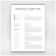 Professional Resume Template 1 and 2 Page Resume Modern CV image 1 One Page Resume Template, Modern Resume Template, Creative Resume Templates, Cover Letter For Resume, Cover Letter Template, Letter Templates, Hamilton, Cv Original, Resume References